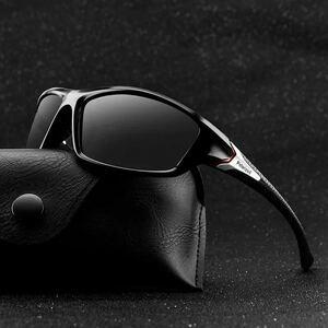 スポーツサングラス 偏光レンズ ブラック メンズサングラス 紫外線カット 送料無料