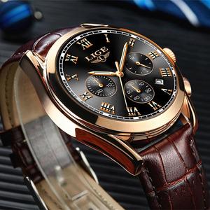 Lige メンズ腕時計トップブランドの高級メンズファッションビジネス防水クォーツ時計メンズカジュアル革腕時計レロジオ masculino