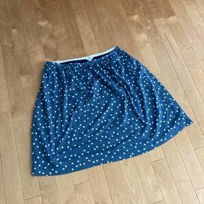 大きめサイズ ヴェールダンス VerDense スカート 水玉 ブルー ネイビー レディース