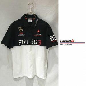 le coq sportif golf ルコック ゴルフ / 半袖 ドライ ポロシャツ トップス カットソー ゴルフウェア / L メンズ / 白 黒 吸汗速乾 デサント