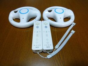 HR063【即日配送 送料無料】Wii マリオカート ハンドル リモコン ストラップ2個セット ホワイト(動作良好 クリーニング済)任天堂 純正