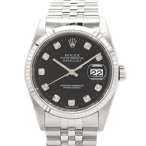 【ROLEX】 デイトジャスト 16234G 黒文字盤ダイヤ10ポイント メンズ Y番2002年 ロレックス