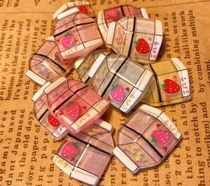 いちごミルク 12個セットデコパーツ プラパーツ ハンドメイド材料 ハンドメイド素材