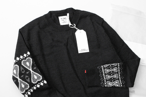 ★未使用 BEDWIN ◆クルーネック セーター MACLISE 黒 サイズ2 バンダナ柄 ニット エドウィン ◆No.4/LT19