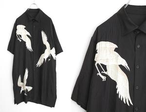 YOHJI YAMAMOTO POUR HOMME ◆21AW 白カラス柄 半袖 シャツ 黒 2 ロング プリント ヨウジヤマモト プールオム ◆No.7/HJ14