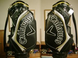 未使用 キャロウェイ スタイリッシュ グッドデザイン&アクティブ 合皮×エナメル 黒黄シルバー ゴルフバッグ