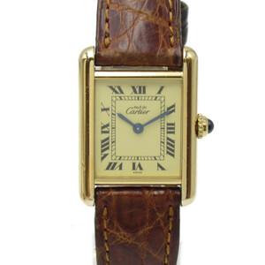 [即決] カルティエ マストタンク 腕時計 腕時計 Aランクシルバー925 GP(ゴールドメッキ) クロコレザーベルト 美品