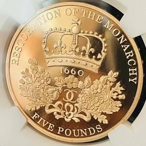 ★最高鑑定 英国 2010年 イギリス NGC PF70 UCAM 王政復古350周年記念 エリザベス2世 5ポンド 金貨 アンティークコイン ウルトラカメオ