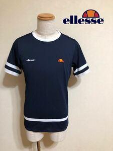 【美品】 ellesse エレッセ テニス ウェア ドライ Tシャツ トップス サイズL 半袖 ネイビー EM07203 ゴールドウィン