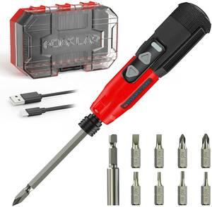 新品_OAKLAR電動ドライバー 小型 充電式 ドライバー 電動 手動兼用,USBで45分急速充電,LEDライト付き,超軽量で女