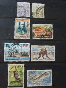 アフリカ切手:ブラジル2枚/モカンビア2枚/ガーナ、セネガル、コンゴ、 ブルンジ共和国/各1枚:合計使用済み8枚