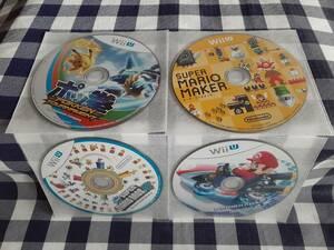 WiiU送料無料:ポッ拳+スーパーマリオメーカー+ニュー・スーパーマリオブラザーズU+マリオカート 4枚セット