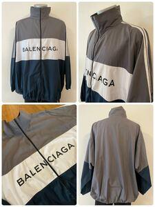 名作 本物 BALENCIAGA バレンシアガ ロゴ ポプリンシャツ トラックジャケット トラックスーツ ナイロンジャケット ジップアップジャケット