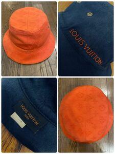 名作 本物 LOUIS VUITTON ルイヴィトン シャポー モノグラム リバーシブル 帽子 ハット バケットハット オレンジ ネイビー M76210