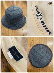 名作 本物 LOUIS VUITTON ルイヴィトン シャポー モノグラム リバーシブル 帽子 ハット バケットハット デニム インディゴブルー MP2441