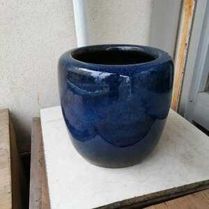 火鉢 メダカ鉢 金魚鉢 傘立て 陶器 藍色 骨董 アンティーク オブジェ