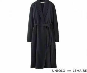 【Sサイズ】uniqlo and LEMAIRE ウール カシミヤ ローブコート WOMEN 161247 69 NAVY ネイビー クリストフ ルメール ユニクロ ロングコート