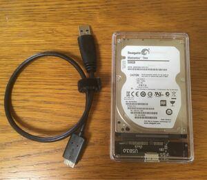 外付けハードディスク 500GB 2.5インチ USB 3.0 透明ケース入り