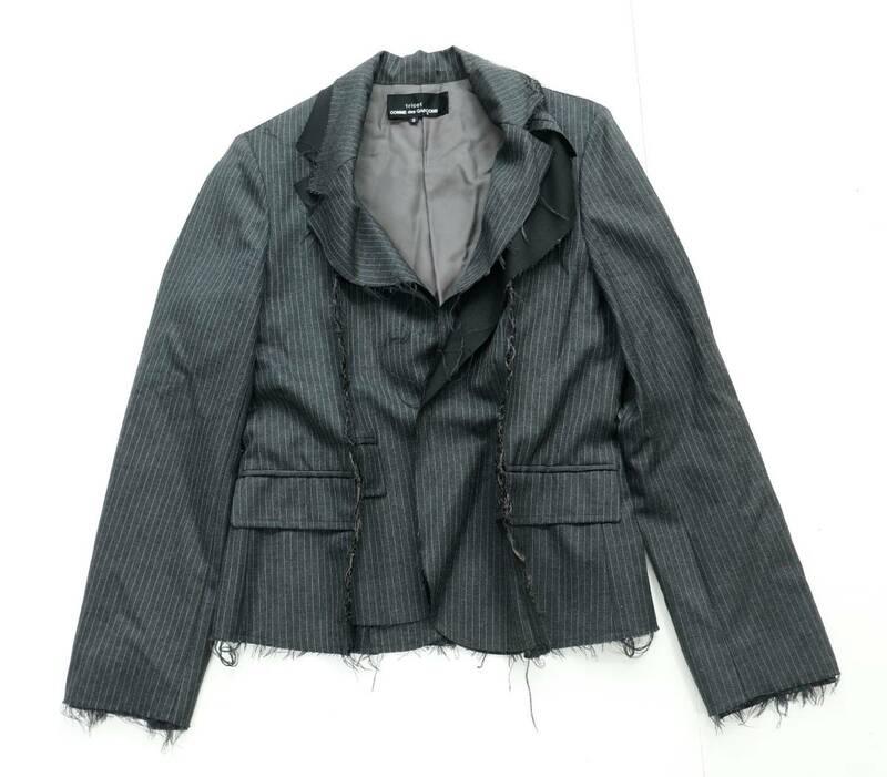 72☆80/ tricot COMME des GARCONS トリコ?コムデギャルソン ストライプ 切りっぱなし ジャケット グレー AD2003 TL-J005 サイズS 日本製