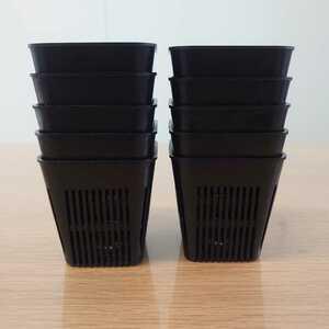 プラスチック鉢 10個セット プラ鉢 スリット鉢 多肉植物 ブラック エケベリア サボテン
