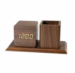 全4種類 要1種類選択 LED 木製目覚まし時計 置き時計 デジタル置き時計 木目調 温度湿度計 多機能 デジタル USB インテリア 時計 946