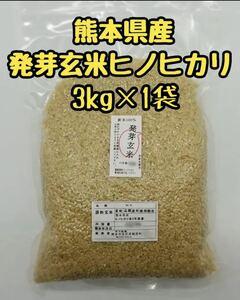 熊本県産 令和2年100% 発芽玄米 3kg ヒノヒカリ