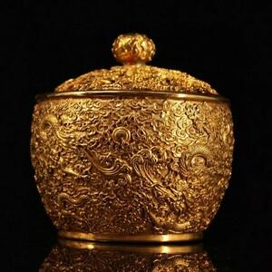 清代 鍍金 龍紋古銅蓋缶