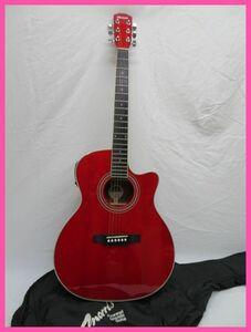 極美品 Morrisモーリス R-401 SR エレアコギター レッド
