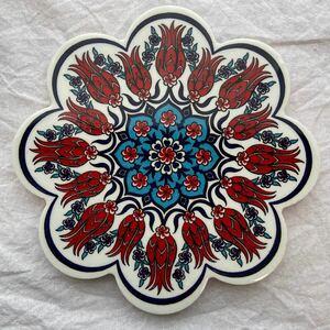 トルコ陶器製鍋敷きトリベットiznik05艶々タイル風鍋敷きおしゃれキッチン雑貨