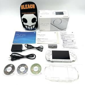 ★中古品★ 即納 PSP-3000 本体 パールホワイト ワンセグチューナー プロテクター ポーチ ソフト3本 プレイステーションポータブル