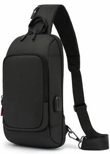 ボディバッグ メンズ 防水 大容量 ショルダーバッグ 斜めがけカバン ワンショルダーバッグ ボディーバッグ 軽い USBポート 黒