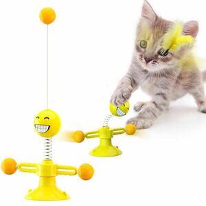 猫じゃらし 羽根 ボール ねこおもちゃ 360度回転 猫用 玩具 交換可能 ストレス発散 笑顔 (イエロー)