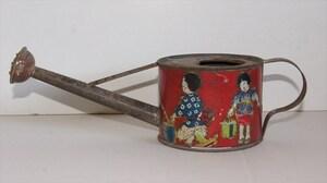 產品詳細資料,日本Yahoo代標|日本代購|日本批發-ibuy99|戦前 少年少女が描かれたジョウロ ブリキ 金彩 ビンテージ 1930年代 日本製 如雨露 じょうろ…