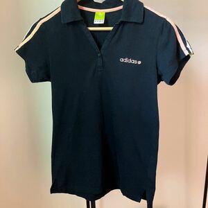 アディダス adidas ポロシャツ M 綿素材 開襟 スポーツウェア トレーニング ジムウェア 半袖 スポーツジム