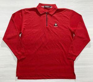 《le coq sportif GOLF ルコックゴルフ》ロゴ刺繍 ハーフジップ 長袖 ポロシャツ レッド L