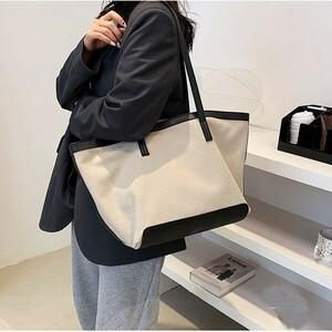 トートバッグ キャンバスバッグ [ホワイト/ブラック]帆布 男女兼用 A4サイズ 大容量 裏地付き 斜めがけ 通勤 通学