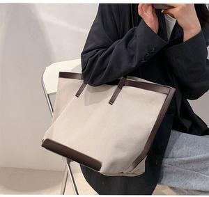 トートバッグ キャンバスバッグ [ホワイト/ブラウン]帆布 男女兼用 A4サイズ 大容量 裏地付き 斜めがけ 通勤 通学