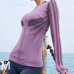 タイトフィットメッシュワーク長袖スポーツTシャツMサイズ ピンク 吸湿速乾 ヨガ長袖 ヨガウェア ピラティス トレーニング ランニング ジム