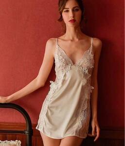 ベビードール おしゃれランジェリー 部屋着 花柄ワンピ シンプル可愛い下着 白色