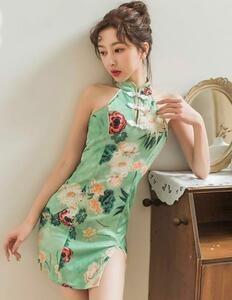 セクシーコスプレ チャイナドレス チャイナ服 エメラルドグリーン系 お花柄 衣装