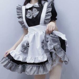 メイド服 メイドコスプレ チェック柄 ロリータ 可愛いメイド服コスプレ 衣装一式