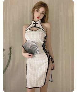 チャイナドレス タイトワンピース イブニングドレス 花柄 ホワイト チャイナ服 エロセクシー ワンピース 夏 衣装 コスチュームセット