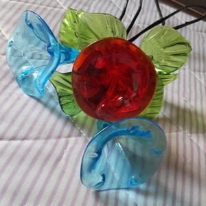 昭和レトロ*鮮やか花のガラス細工*3本まとめ売り*ワイヤー*オブジェ*吹きガラス*ビードロ