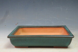 杉浦景仙 緑釉長方鉢 4225