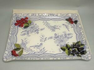★★Gien ジアン オワゾブルー フルーツ 樹脂製 長方形トレイ お盆 48cm×37cm★AKAS24126