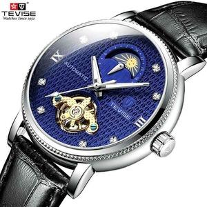 【送料無料】メンズ高級腕時計 機械式 自動巻 トゥールビヨン ムーンフェイズ表示 本革ベルト 紳士 ビジネス 夜光 防水 ブラック