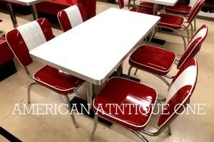 アメリカンダイナーセット チェア4脚+テーブル 光沢デザイン!! 定番レッドカラー★お買い得5点セット
