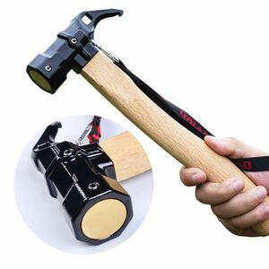 ペグハンマー 鋳鋼 真鍮 ペグ打ち込み 衝撃緩和 キャンプ用品 ハンマー 木製