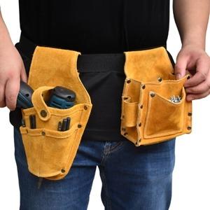 【送料無料】工具ポーチ 腰袋 収納 工具差し DIY 建築 作業道具ツール 牛革 ウエストポーチ