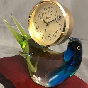 マルティグラス 置時計 ガラス細工 ガラス工芸 鳥 動物 目覚まし時計 アンティーク 昭和レトロ クォーツ MULTI GLASS 置き時計 レトロ 敷板